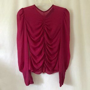 Yigal Azrouel Hot Pink Long Sleeve Blouse